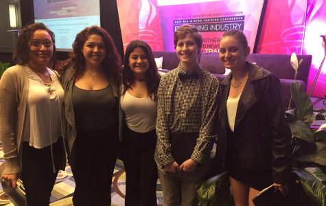 Paw Prints staffers Skyla Segarra, Alexis Villavicencio, Vanessa Gomez, Oliver Bronstein, and Sophie Hough gather after the closing session of National Newspaper Publisher's Association mid-winter conference held in Ft. Lauderdale.