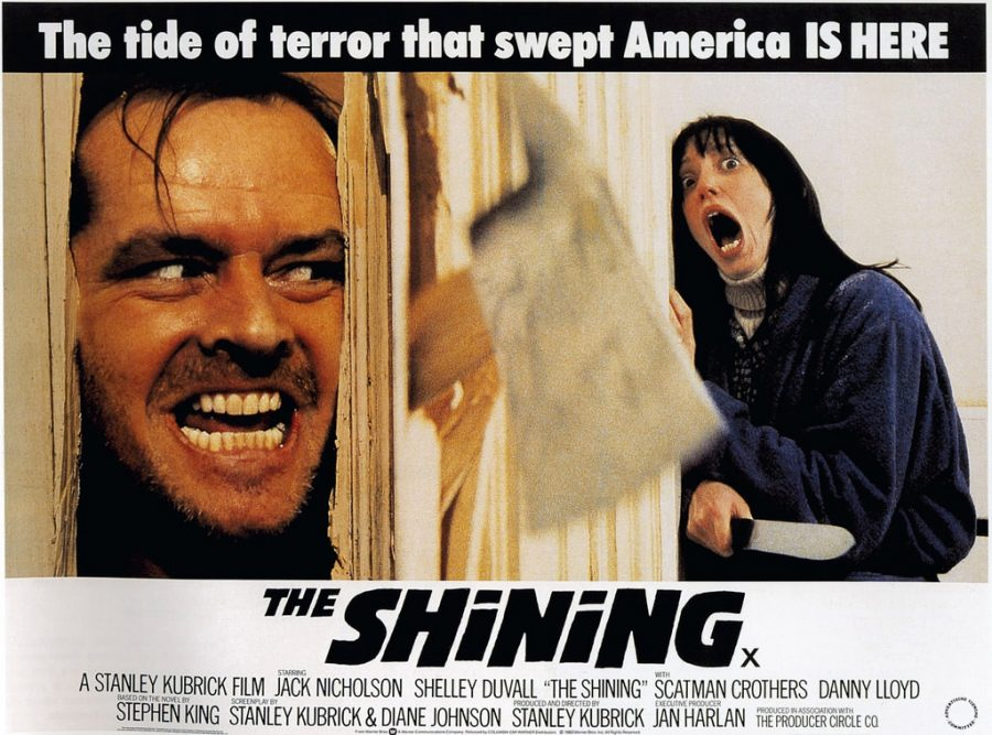 Jack Torrence looks crazily around the corner at his wife in the poster for the classic psychological thriller based on the Stephen King novel.