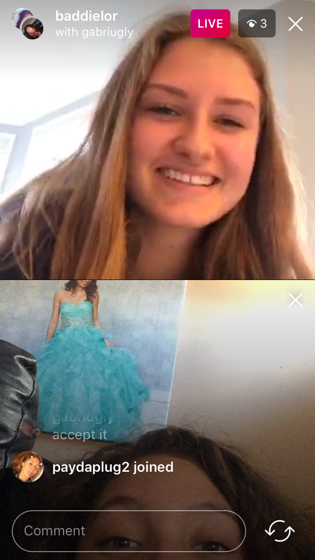 Sophomore Lorelai Chambers (top) and Junior Briana Villigran (bottom) test out the new group livestream feature.
