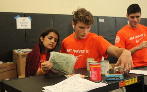 Junior Kayla Ramos, junior Chris Cacciola and senior Diego Diaz organize canned goods in the gymnasium on Nov. 20 for the 25th Harvest Drive.