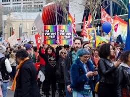 Protestors in Melbourne, Australia show support for marriage equality at a rally.