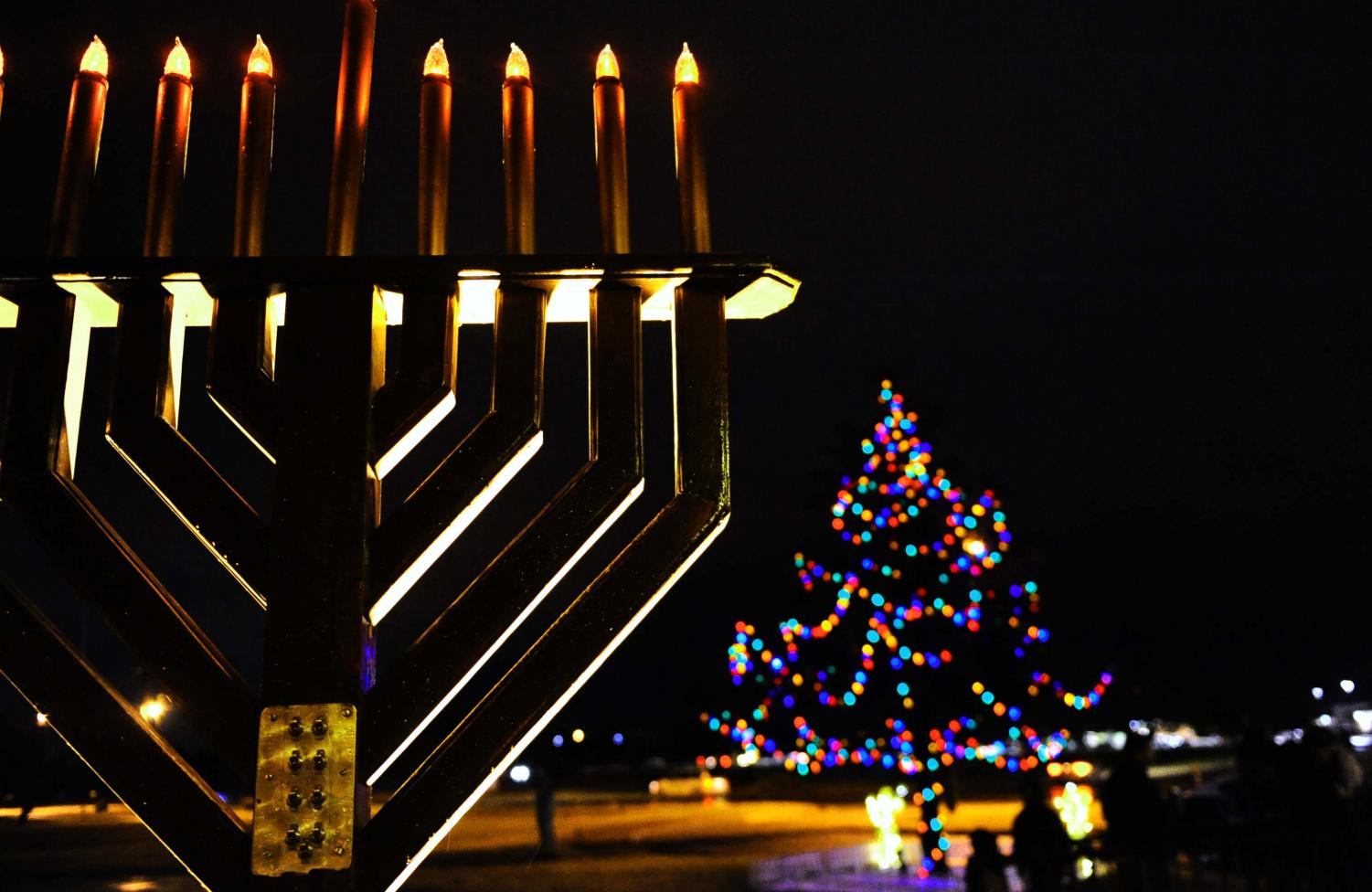 Dyess Air Force Base in Taylor County, Texas displays a menorah and  Christmas tree for the holidays in 2009.
