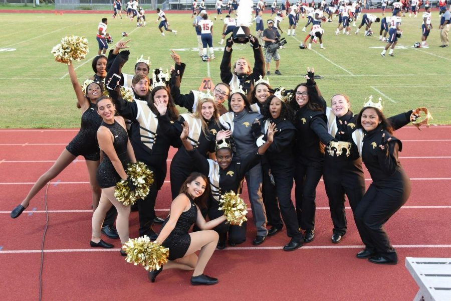 Seniors+celebrate+their+final+home+game+before+the+first+quarter+of+Miramar+game+begins.