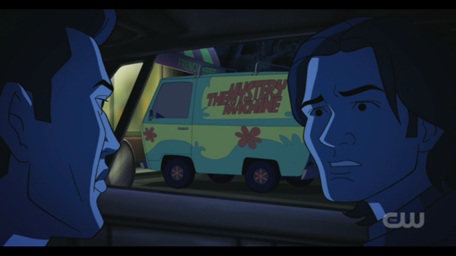 Characters Sam and Dean realize they are in the world of Scooby-Doo.