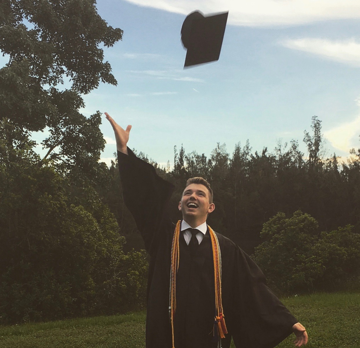 Senior Brian Inerfeld celebrates graduating high school on June 1.