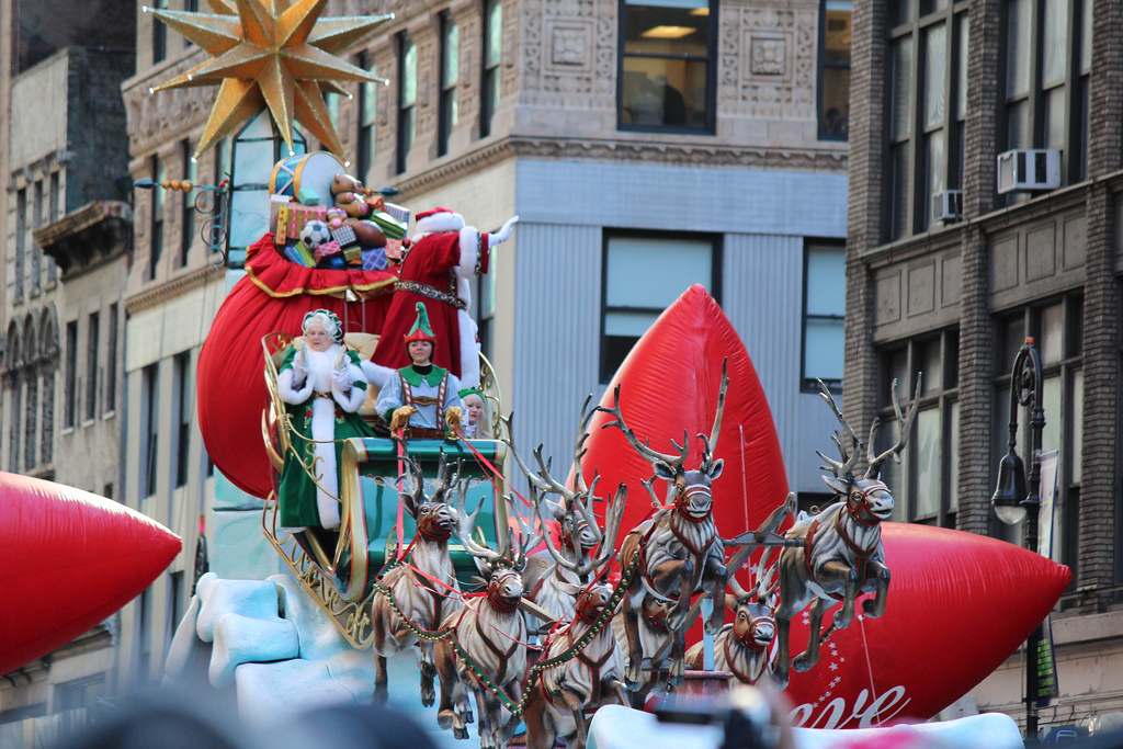 The annual Macy's Day Thanksgiving Parade always introduces Christmas decorations early, as show in this 2013 parade.