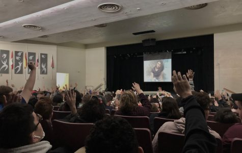 Students at the January 9 Rachel's Challenge assembly in the auditorium pledge to