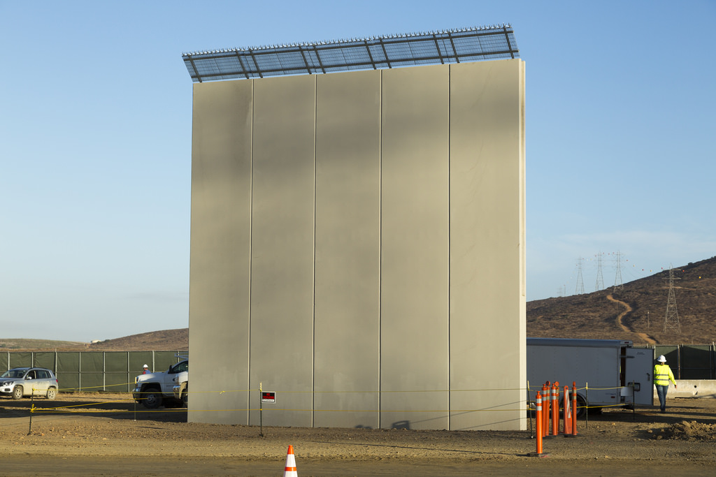 Possible prototypes for the border wall shown in development near the US/Mexico border.