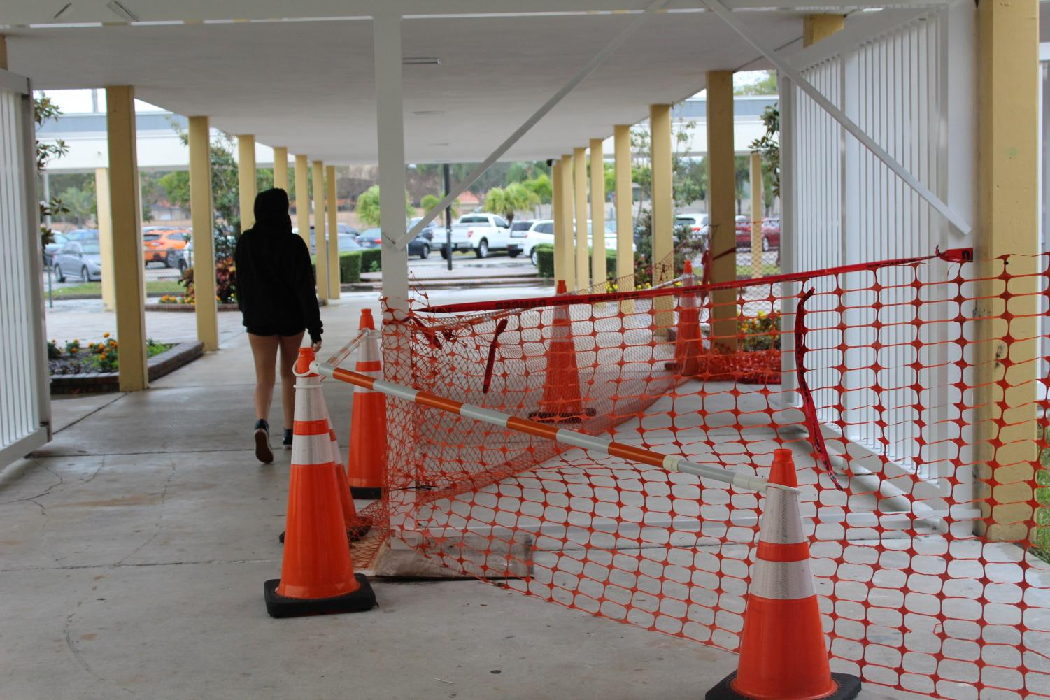 As part of increased security, construction on gate for single point of entry to school began on February 8.