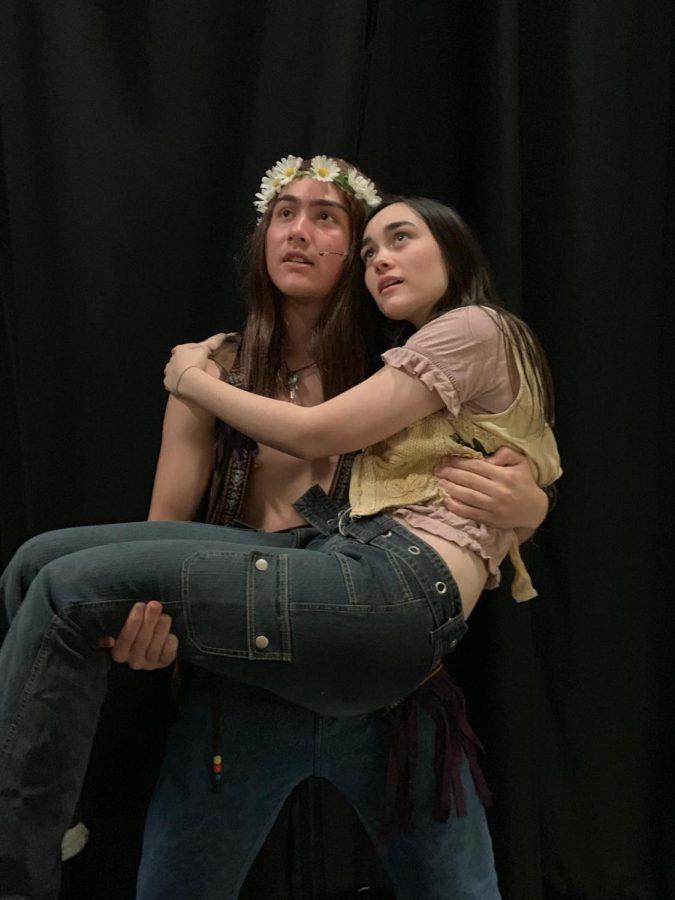 Julia Pihokken (Sheila's understudy) and Aidan Havens (Berger) rehearse on March 11.
