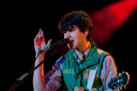 Lead singer and guitarist of Vampire Weekend, Ezra Koenig, performs in Manchester in 2010 prior to their break.