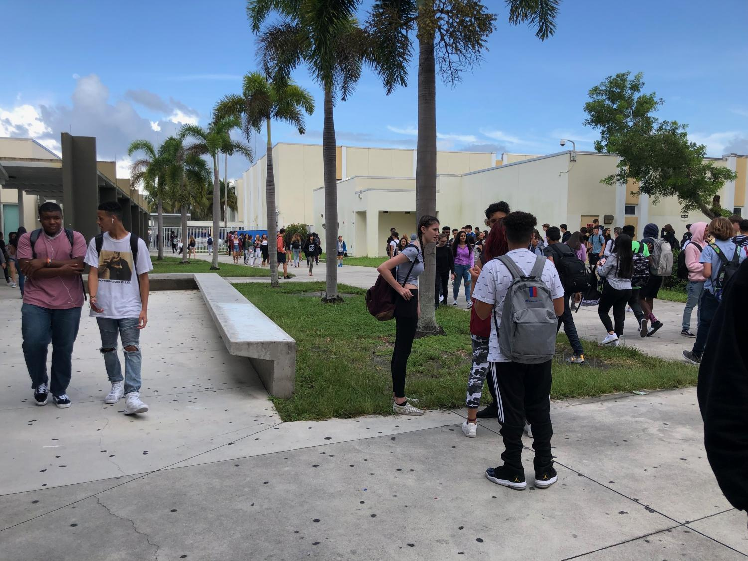 Students make their way to sixth period on August 19.