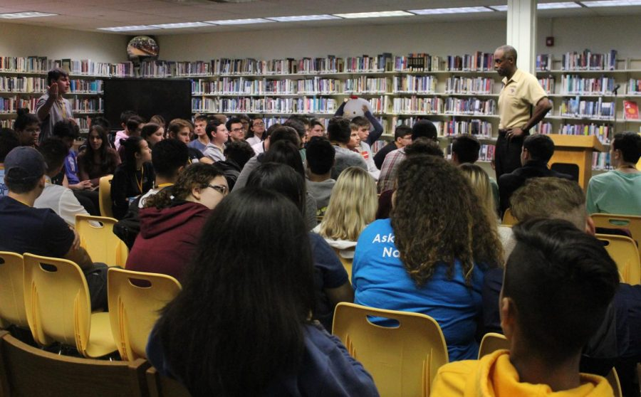 Superintendent Robert Runcie gathers students from a variety of clubs and programs on Oct. 30 in the media center to discuss topics such as school security.