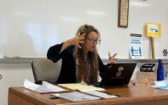 Math teacher Wyndi Fasciana teaches her class virtually at the start of the school year.
