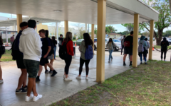 Remote students wait for rides after the morning session of the FSA Writing exam on April 7.