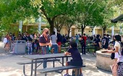 The outside lunch tables are crowded once again now that students are back in school.